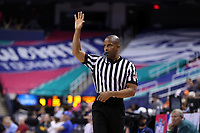GREENSBORO, NC - MARCH 6: Official Eric Brewton during a game between Clemson and Boston College at Greensboro Coliseum on March 6, 2020 in Greensboro, North Carolina.