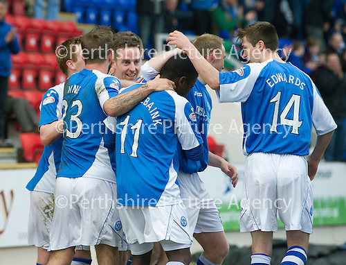 St Johnstone v Inverness Caley Thistle.....27.04.13      SPL.Steven MacLean celebrates his goal with provider Nigel Hasselbaink.Picture by Graeme Hart..Copyright Perthshire Picture Agency.Tel: 01738 623350  Mobile: 07990 594431