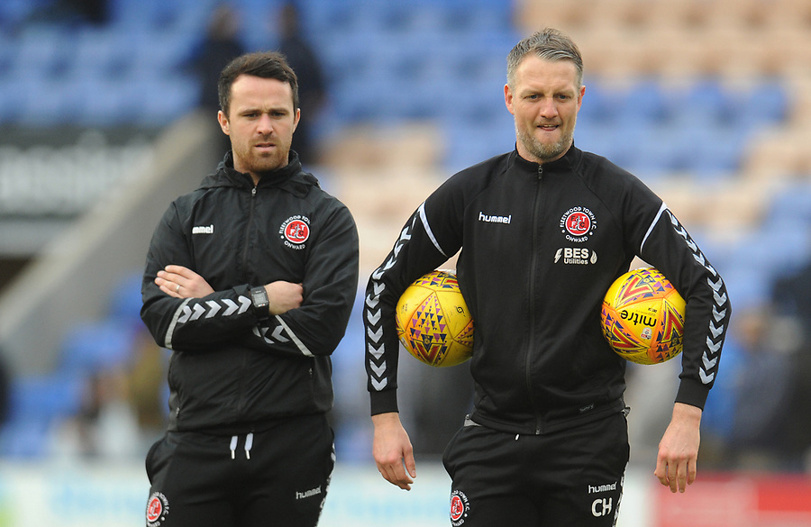 Fleetwood Town First Team Coach Clint Hill (right) with Sports Scientist James Barrow during the pre-match warm-up <br /> <br /> Photographer Kevin Barnes/CameraSport<br /> <br /> The EFL Sky Bet League One - Shrewsbury Town v Fleetwood Town - Tuesday 1st January 2019 - New Meadow - Shrewsbury<br /> <br /> World Copyright © 2019 CameraSport. All rights reserved. 43 Linden Ave. Countesthorpe. Leicester. England. LE8 5PG - Tel: +44 (0) 116 277 4147 - admin@camerasport.com - www.camerasport.com