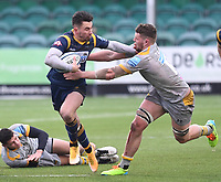 14th February 2021; Sixways Stadium, Worcester, Worcestershire, England; Premiership Rugby, Worcester Warriors versus Wasps; Nick David of Worcester Warriors hands off Tom Willis of Wasps