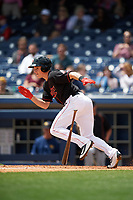Nashville Sounds third baseman Matt Chapman (7) runs to first base during a game against the New Orleans Baby Cakes on May 1, 2017 at First Tennessee Park in Nashville, Tennessee.  Nashville defeated New Orleans 6-4.  (Mike Janes/Four Seam Images)