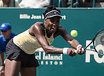 Venus Williams (USA) loses to Eugenie Bouchard (CAN) 7-6, 2-6, 6-4 at the Family Circle Cup in Charleston, South Carolina on April 3, 2014.