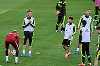 Spanish National Team's  training at Ciudad del Futbol stadium in Las Rozas, Madrid, Spain. In the pic: De Gea, Sergio Ramos, Bernat Velasco and Mario Suarez. March 25, 2015. (ALTERPHOTOS/Luis Fernandez) /NORTEphoto.com