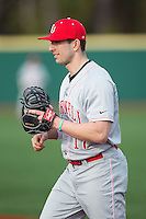 Cornell Big Red first baseman Ryan Karl (17) on defense against the Seton Hall Pirates at The Ripken Experience on February 27, 2015 in Myrtle Beach, South Carolina.  The Pirates defeated the Big Red 3-0.  (Brian Westerholt/Four Seam Images)