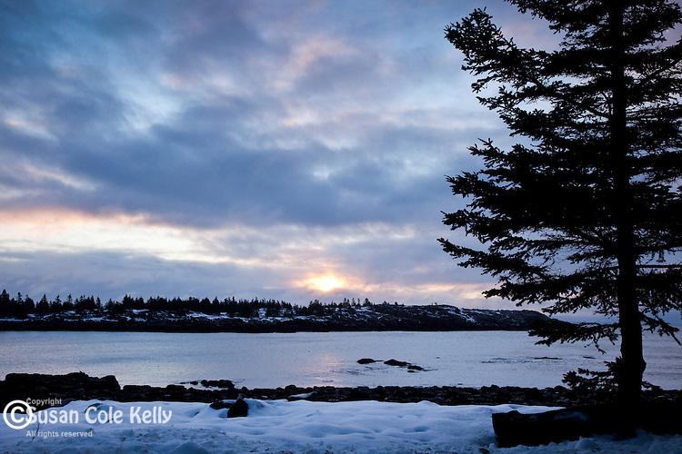 Winter sunrise on the Schoodic Peninsula of Acadia National Park, Downeast, ME, USA