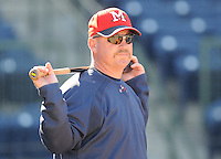 12 April 2008: Manager Phillip Wellman of the Mississippi Braves, Class AA affiliate of the Atlanta Braves, in a game against the Mobile BayBears at Trustmark Park in Pearl, Miss. Photo by:  Tom Priddy/Four Seam Images