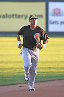 Vancouver Canadians outfielder Michael Choice #15 running in from the outfield between innings during a game  vs. the Tri-City Dust devils at Gesa Stadium in Pasco, Washington, on August 15, 2010. Photo By Robert Gurganus/Four Seam Images