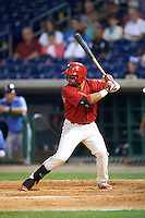 Clearwater Threshers second baseman Drew Stankiewicz (13) at bat during a game against the Charlotte Stone Crabs on April 12, 2016 at Bright House Field in Clearwater, Florida.  Charlotte defeated Clearwater 2-1.  (Mike Janes/Four Seam Images)