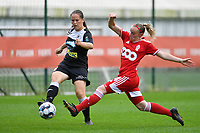 Valentine Hannecart (8) of Eendracht Aalst and Zoe Van Eynde (14) of Standard  in action during a female soccer game between Standard Femina de Liege and Eendracht Aalst dames on the fourth matchday in the 2021 - 2022 season of the Belgian Scooore Womens Super League , Saturday 11 th of September 2021  in Angleur , Belgium . PHOTO SPORTPIX | BERNARD GILLET