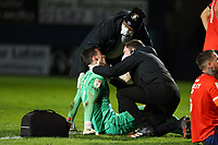 4th May 2021; Kenilworth Road, Luton, Bedfordshire, England; English Football League Championship Football, Luton Town versus Rotherham United; Simon Sluga of Luton Town is checked by the medical staff for a head injury