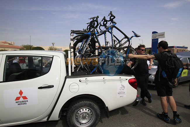 Sky Procycling Pinarello bikes loaded on a pick up before the start of the 3rd Stage of the 2012 Tour of Qatar running 146.5km from Dukhan Souq, Dukhan to Al Gharafa, Qatar. 7th February 2012.<br /> (Photo Eoin Clarke/Newsfile)