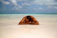 Sunbaker shot on Prison Island, Cocos Keeling Islands, Indian Ocean