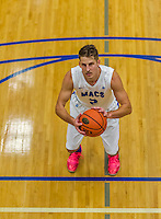 22 November 2015: Yeshiva University Maccabee Forward Dean Pienica, a Junior from Tel Aviv, Israel, prepares to take a foul shot during the second half of play against the Hunter College Hawks at the Max Stern Athletic Center  in New York, NY. The Maccabees defeated the Hawks 81-71 in non-conference play, for their second win of the season. Mandatory Credit: Ed Wolfstein Photo *** RAW (NEF) Image File Available ***