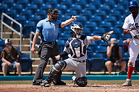 Home plate umpire Lane Cullipher and Lynchburg Hillcats catcher Andres Melendez (20) ask for help on a check swing during the game against the Kannapolis Cannon Ballers at Atrium Health Ballpark on August 29, 2021 in Kannapolis, North Carolina. (Brian Westerholt/Four Seam Images)