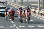 Lotto-Belisol team warms up before the 2nd Stage of the 2012 Tour of Qatar a team time trial at Lusail Circuit, Doha, Qatar, 6th February 2012 (Photo Eoin Clarke/Newsfile)