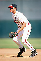 A.J. Zapp of the Atlanta Braves organization plays in a California Fall League game at The Epicenter circa October 1999 in Rancho Cucamonga, California. (Larry Goren/Four Seam Images)
