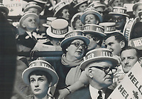 1968 FILE PHOTO - ARCHIVES <br /> <br /> In her Hellyer Hat at the Liberal leadership convention last night; State Judy LaMarsh sits in centre of a bank of Transport Minister Paul Hellyer's supporters. Hellyer got his biggest cheers when his speech zeroed in on one of the touchiest subjects of his campaign-unification of the armed forces. In a crack at Justice Minister Trudeau; he warned against a rigid policy on Quebec.<br /> <br /> 1968<br /> <br /> PHOTO :  Doug Griffin - Toronto Star Archives - AQP