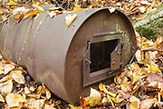 "Remnants of a 55 gallon drum wood stove at ""Lucy Mill"" along Nancy Pond Trail in the White Mountains, New Hampshire."