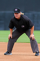 Base umpire Jennifer Pawol during a Midwest League game between the Wisconsin Timber Rattlers and the Bowling Green Hot Rods on July 22, 2018 at Fox Cities Stadium in Appleton, Wisconsin. Bowling Green defeated Wisconsin 10-5. (Brad Krause/Four Seam Images)