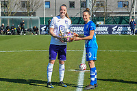 Chloe Vande Velde (10) of AA Gent giving a present to the golden shoe Tine De Caigny (6) of Anderlecht pictured before a female soccer game between  AA Gent Ladies and RSC Anderlecht on the 17th matchday of the 2020 - 2021 season of Belgian Scooore Womens Super League , saturday 20 th of March 2021 in Oostakker , Belgium . PHOTO SPORTPIX.BE | SPP | STIJN AUDOOREN