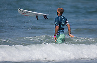 Huntington Beach, CA - Tuesday July 31, 2018: Jadson Andre in action during a World Surf League (WSL) Qualifying Series (QS) Men's round of 96 heat at the 2018 Vans U.S. Open of Surfing on South side of the Huntington Beach pier.