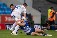 3rd October 2021; AJ Bell stadium, Eccles, Greater Manchester, England: Gallagher Premiership Rugby, Sale v Exeter ; Cameron Neild of Sale Sharks tackles Dave Ewers of Exeter Chiefs