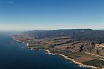 Agricultural fields along coast with coastal mountains, Santa Cruz, Monterey Bay, California