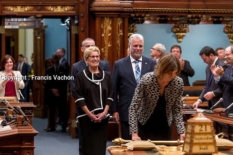 Ontario Premier Kathleen Wynne arrives at the National Assembly in Quebec City September 21, 2017.<br /> <br /> PHOTO :  Francis Vachon - Agence Quebec Presse