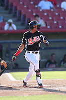 Ronald Guzman (31) of the High Desert Mavericks bats during a game against the San Jose Giants at Mavericks Stadium on June 14, 2015 in Adelanto, California. High Desert defeated San Jose, 7-5. (Larry Goren/Four Seam Images)