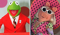 Feb 21, 2000 - Los Angeles, California, USA - This Photo combination shows Kermit the Frog, left, and Miss Piggy, pictured on file photos of October 12, 1995, and of May 1998, right. Munich based EM.TV announced Monday, February 21, 2000, it is buying Jim Henson Co., the largest U.S. name to go German since Chrysler was bought by Daimler-Benz..(Credit Image: © Alan Greth)