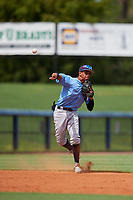 Tampa Bay Rays Jelfry Marte (76) throws to first base during a Florida Instructional League game against the Baltimore Orioles on October 1, 2018 at the Charlotte Sports Park in Port Charlotte, Florida.  (Mike Janes/Four Seam Images)