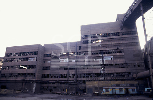 Sofia, Bulgaria. Disused factory with broken windows.