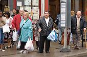 Bus queue, East Ham, Newham.