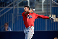 Yohandy Morales (35) during the Under Armour All-America Game Practice, powered by Baseball Factory, on July 21, 2019 at Les Miller Field in Chicago, Illinois.  Yohandy Morales attends G. Holmes Braddock High School in Miami, Florida and is committed to the University of Miami.  (Mike Janes/Four Seam Images)