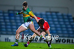 Aaron O'Shea, Kerry in action against Shane Kingston, Cork during the Munster Minor Semi-Final between Kerry and Cork in Austin Stack Park on Tuesday evening.