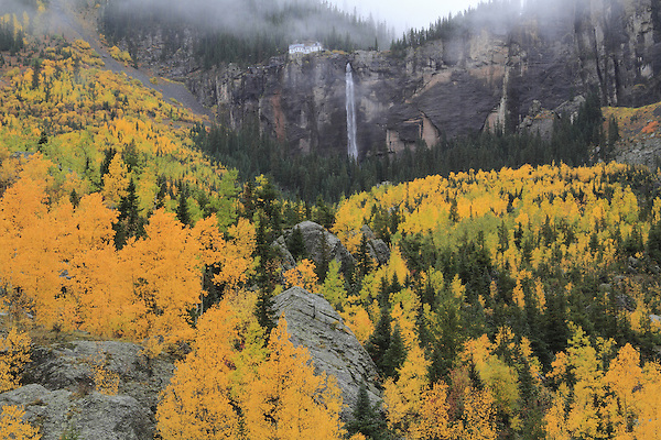 Bridalveil Falls and power station in the San Juan Mountians, Telluride, Colorado. .  John leads private photo tours throughout Colorado. Year-round Colorado photo tours.