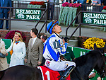 ELMONT, NEW YORK - SEPT 30:  Elate #1, ridden by Jose Ortiz , wins the Beldame Stakes,  at Belmont Park on September 30, 2017 in Elmont, New York. ( Photo by Sue Kawczynski/Eclipse Sportswire/Getty Images)