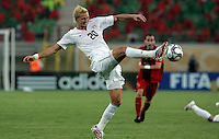 The United States' Brek Shea (20) puts cleat to ball during the FIFA Under 20 World Cup Group C Match between the United States and Germany at the Mubarak Stadium on September 26, 2009 in Suez, Egypt. The US lost to Germany 3-0.