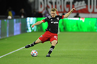 WASHINGTON, DC - MAY 13: Julian Gressel #31 of D.C. United crosses the ball during a game between Chicago Fire FC and D.C. United at Audi FIeld on May 13, 2021 in Washington, DC.