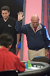 Larry Klur celebrates at first, but then gets hugs and acknoledges the crowd after being eliminated in 4th. place...Hand #91 - Victor Ramdin has the button and Ed Jordan raises to $400,000. Larry Klur moves all in for $695,000 more and Jordan calls. Klur showsAh-7c and Jordan flips over 4d-4c. Theflop comes Ac-9c-5d and Larry Klur takes the lead. The 3d on the turn give Jordan a straight draw and the 2d on the river completes the straight. Larry Klur has been eliminated from the tournament.