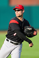 Mac Williamson (7) of the Richmond Flying Squirrels warms up in the outfield prior to the game against the prior to a game versus the New Hampshire Fisher Cats at Northeast Delta Dental Stadium on June 5, 2015 in Manchester, New Hampshire. (Ken Babbitt/Four Seam Images)
