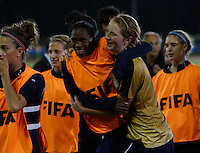 USA celebrate their win..FIFA U17 Women's World Cup, Semi Final, Germany v USA, QEII Stadium, Christchurch, New Zealand, Thursday 13 November 2008. Photo: Renee McKay/PHOTOSPORT