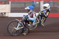 Heat 5: Peter Karlsson (blue) and Niels-Kristian Iversen - Vortex Lakeside Hammers vs Kings Lynn Stars - Sky Sports Elite League Speedway at Arena Essex Raceway, Purfleet - 23/04/13 - MANDATORY CREDIT: Gavin Ellis/TGSPHOTO - Self billing applies where appropriate - 0845 094 6026 - contact@tgsphoto.co.uk - NO UNPAID USE.