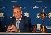 Ryder Cup Captain Paul McGinley strained over his decision not to pick Luke Donald (ENG) spending time with vice-captains Des Smyth and Sam Torrence over a round of golf, ahead of the Team Europe Ryder Cup Press Conference at the Wentworth Club, Virginia Waters, England. Picture:  David Lloyd / www.golffile.ie