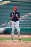 Atlanta Braves pitcher Matt Rowland (90) gets ready to deliver a pitch during a Florida Instructional League game against the Canadian Junior National Team on October 9, 2018 at the ESPN Wide World of Sports Complex in Orlando, Florida.  (Mike Janes/Four Seam Images)
