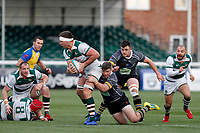 Ryan Smid of Ealing Trailfinders is tackled during the Championship Cup Quarter Final match between Ealing Trailfinders and Nottingham Rugby at Castle Bar , West Ealing , England  on 2 February 2019. Photo by Carlton Myrie / PRiME Media Images.