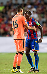 Crystal Palace midfielder Wilfried Zaha (R) confronts with Liverpool FC midfielder Marko Grujic (L) during the Premier League Asia Trophy match between Liverpool FC and Crystal Palace FC at Hong Kong Stadium on 19 July 2017, in Hong Kong, China. Photo by Weixiang Lim / Power Sport Images