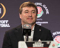 Pasadena, CA - December 31, 2017: The number 2 ranked University of Oklahoma Sooners face the number 3 ranked University of Georgia Bulldogs in the National Playoff Semifinal at the Rose Bowl.  Coaches conference.