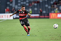 10th February 2021; Bankwest Stadium, Parramatta, New South Wales, Australia; A League Football, Western Sydney Wanderers versus Melbourne Victory; Tate Russell of Western Sydney Wanderers crosses the ball