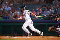 Tri-City ValleyCats outfielder Alexander Melendez (4) at bat during a game against the Brooklyn Cyclones on September 1, 2015 at Joseph L. Bruno Stadium in Troy, New York.  Tri-City defeated Brooklyn 5-4.  (Mike Janes/Four Seam Images)